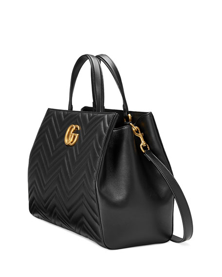 GG Marmont Medium Matelassé Top-Handle Bag, Black
