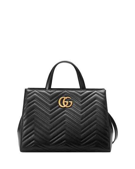 Gucci GG Marmont Medium Matelassé Top-Handle Bag, Black