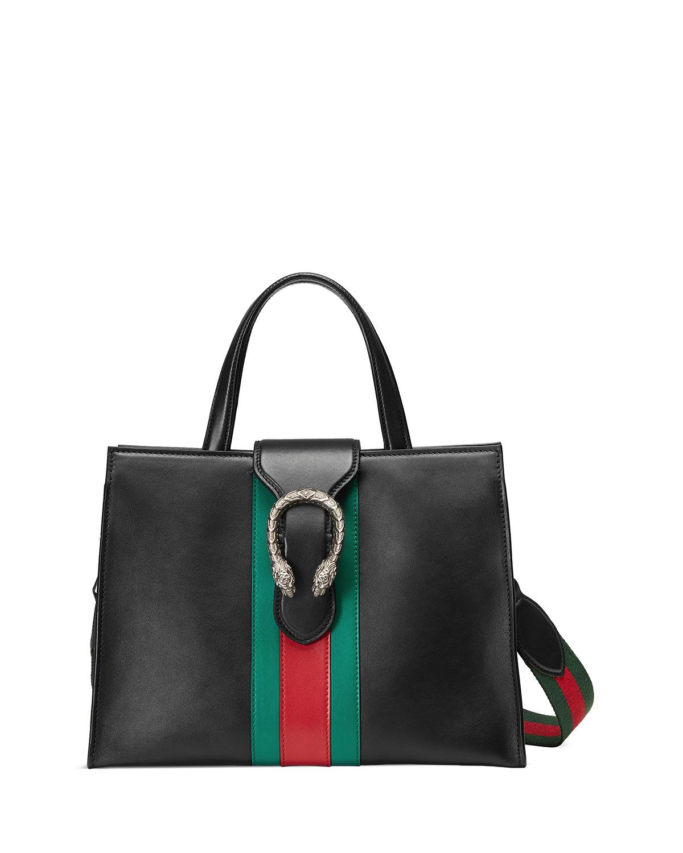 d0d3494f229b86 Gucci Dionysus Medium Web-Stripe Top-Handle Bag, Black | Neiman Marcus