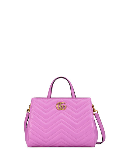 GG Marmont Small Matelassé Top-Handle Bag, Bright Pink