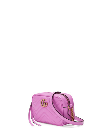 GG Marmont Mini Matelassé Camera Bag, Bright Pink