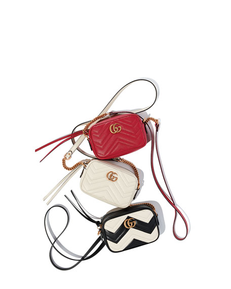 GG Marmont Mini Matelasse Camera Bag, Hibiscus Red