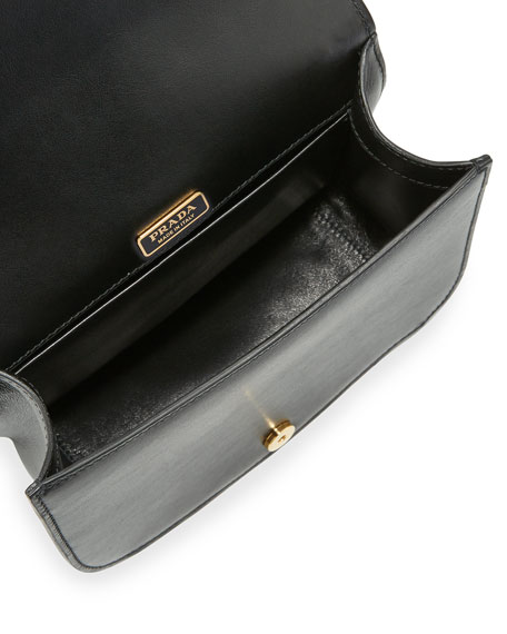 Prada Pionni��re Web-Strap Shoulder Bag, Black/White (Nero/Bianco)