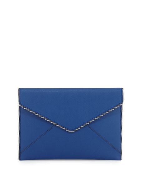 Leo Saffiano Envelope Clutch Bag, Cobalt
