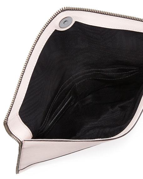 Leo Saffiano Envelope Clutch Bag, Pale Blush