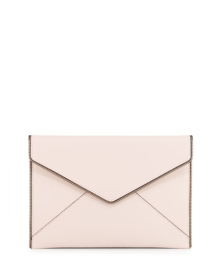 Rebecca Minkoff Leo Saffiano Envelope Clutch Bag, Pale Blush