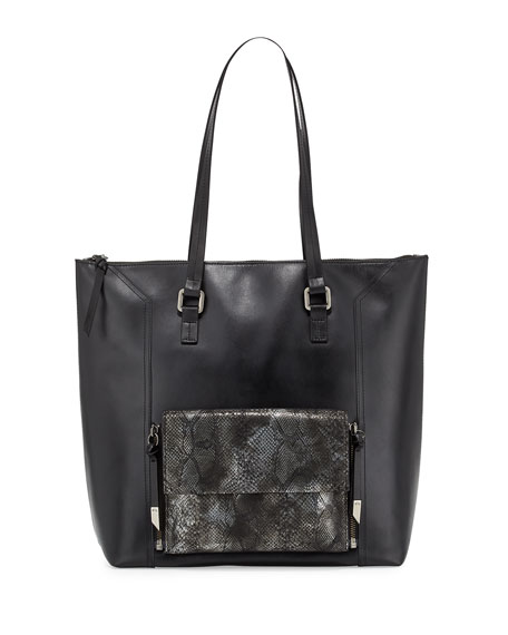 Foley + CorinnaGemini Snake-Embossed Leather Tote Bag,