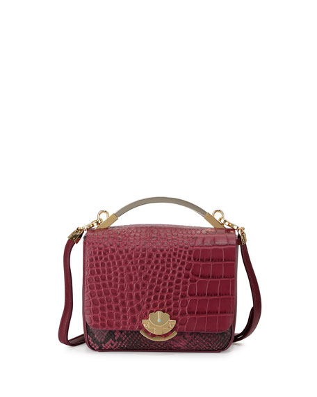 Cynthia Rowley Gemma Embossed-Leather Crossbody Bag, Mulberry