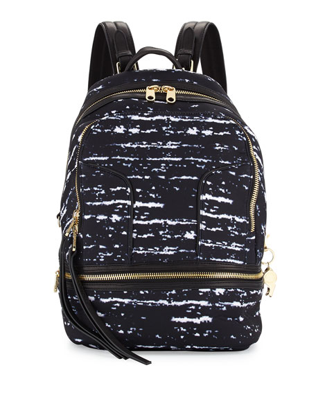 Cynthia Rowley Brody Boucle-Print Scuba/Leather Backpack, Black/White