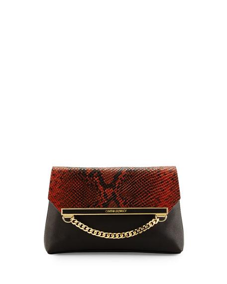 Cynthia Rowley Sasha Snake-Print Clutch Bag, Black/Brandy
