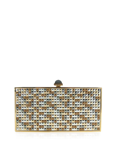 Perfect Rectangle Studded Evening Clutch Bag, Champagne/Gold