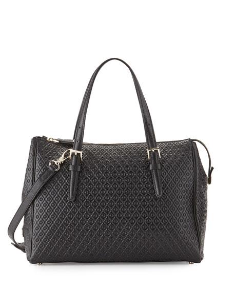Tod's Signature Embossed Leather Satchel Bag, Black
