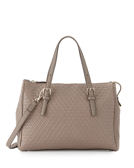 Tod's Signature Embossed Leather Satchel Bag, Gray