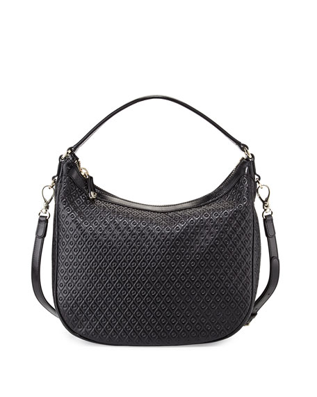 Tod's Signature Embossed Leather Hobo Bag, Black