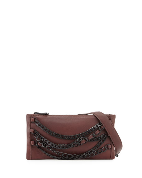 Ash Domino Chain Leather Crossbody Bag, Dark Wine
