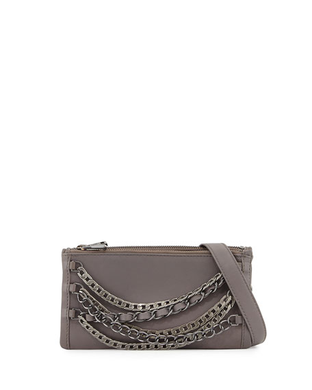 Ash Domino Chain Leather Crossbody Bag, Elephant