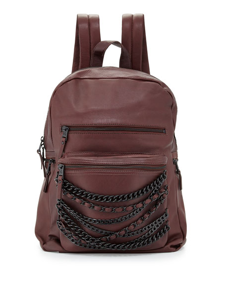 Ash Domino Chain Large Leather Backpack, Dark Wine