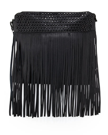Ash Zappa Studded Fringe Leather Hobo Bag, Black
