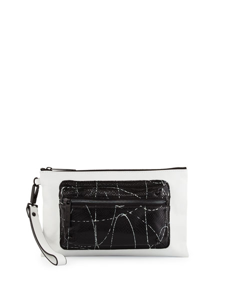 L.A.M.B. Ian Snake-Embossed Leather Wristlet, White/Black