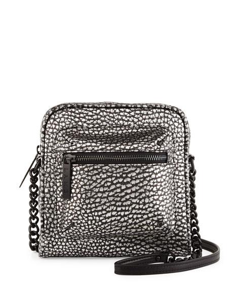 L.A.M.B.Ice Metallic Leather Crossbody Bag, Black/White