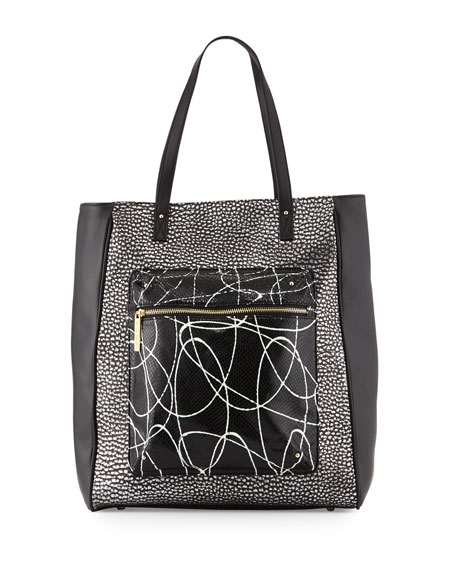 L.A.M.B. Ibis Metallic Leather Tote Bag, Black/White