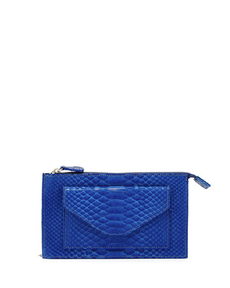 Carlos Falchi Python Zip-Top Wallet-on-Chain, Cobalt