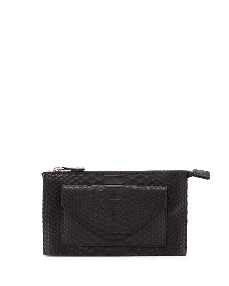 Carlos Falchi Python Zip-Top Wallet-on-Chain, Black