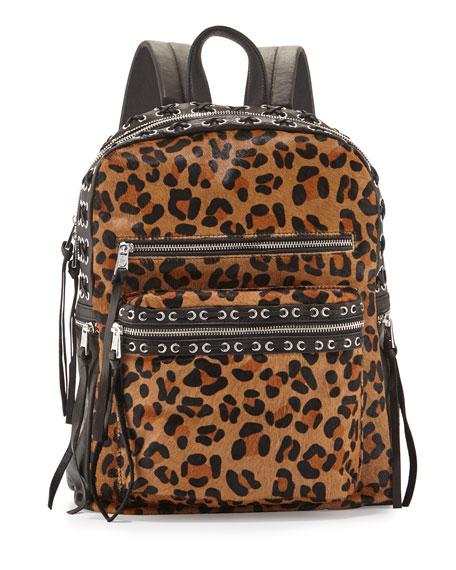 AshBilly Leopard-Print Laced Backpack, Leopard/Black