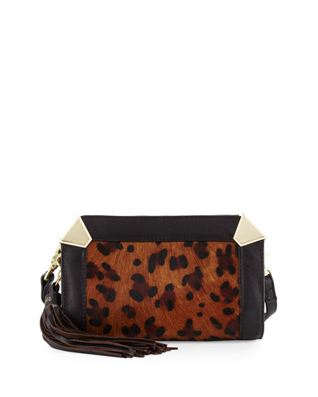 Foley + Corinna Portrait Calf-Hair Crossbody Bag, Leopard