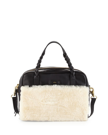 Foley + Corinna Cable Shearling Leather Satchel Bag,