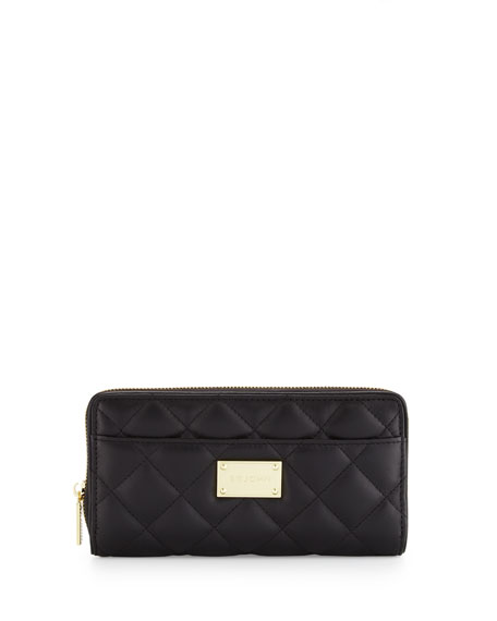 St. John Collection Quilted Leather Continental Wallet, Black