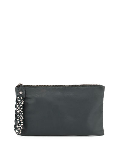 Janis Leather Clutch Bag, Dark Green