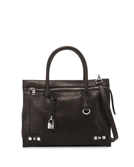 AshCourtney Leather Satchel Bag, Black