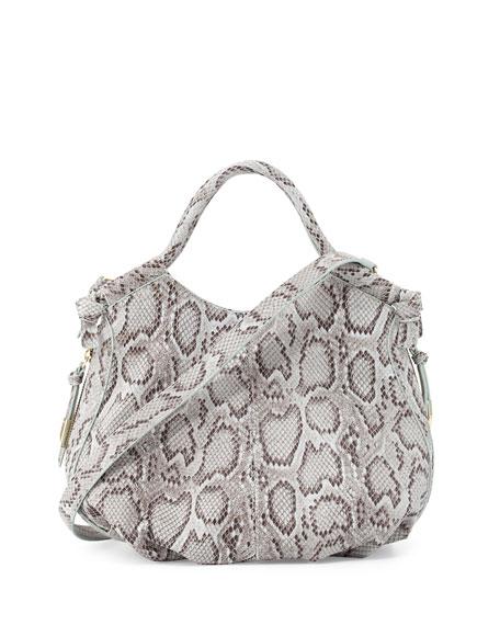 Foley + Corinna Fleetwood Snake-Embossed Leather Satchel Bag,