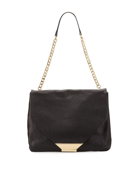 Foley + CorinnaZiggy Leather Shoulder Bag, Black