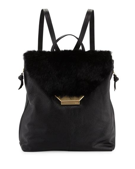Foley + Corinna Stardust Rabbit-Fur/Leather Backpack, Black