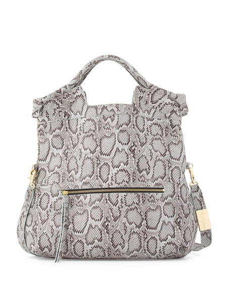 Foley + Corinna Mid City Snake-Embossed Leather Tote