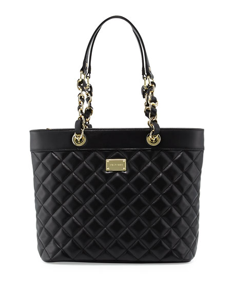 St. JohnQuilted Leather Tote Bag, Black/Gold