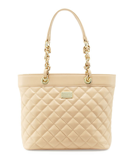 St. John Quilted Leather Tote Bag, Classic Beige/Gold