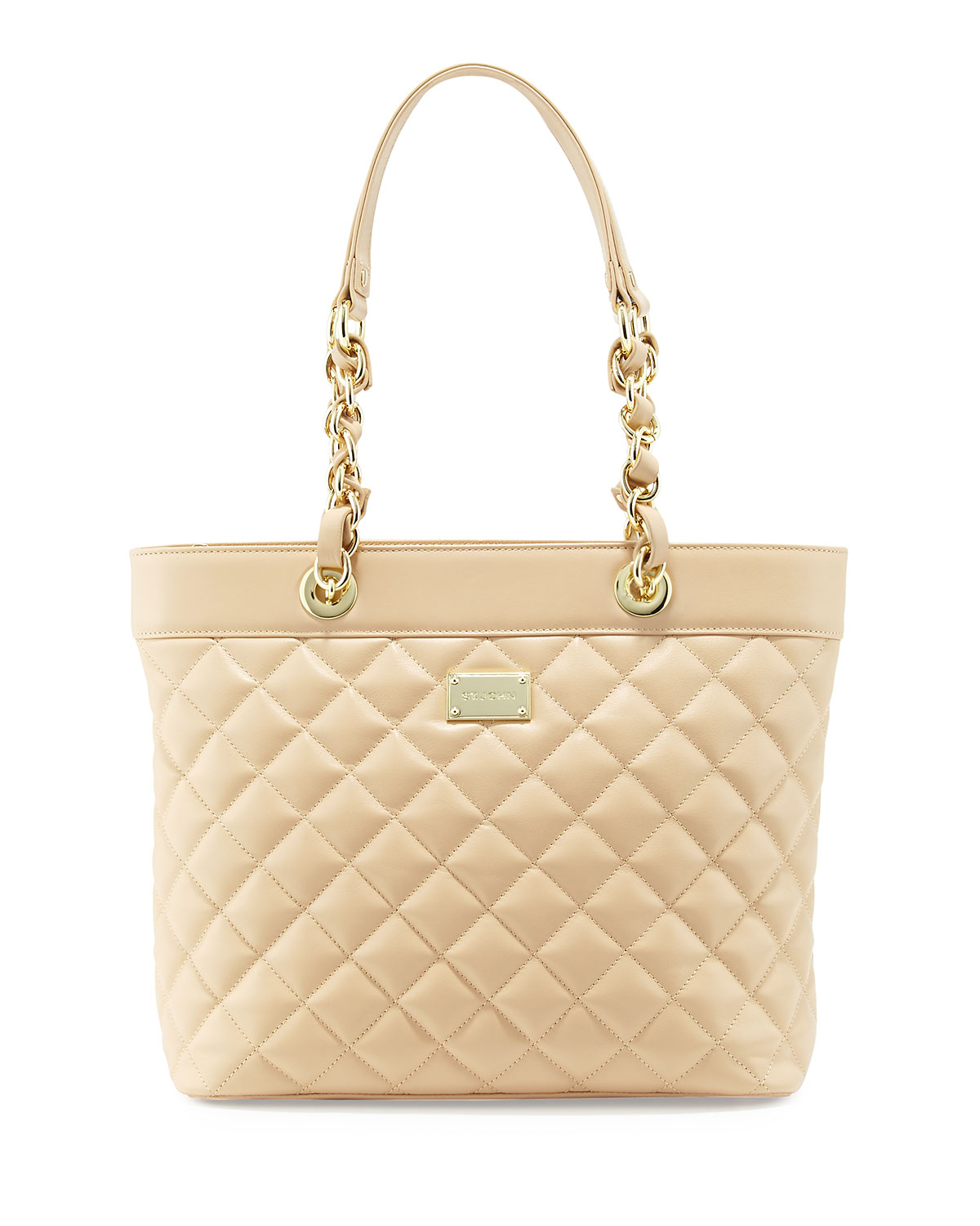 Quilted Leather Tote Bag Classic Beige Gold