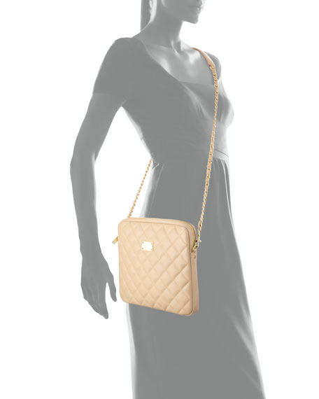 Quilted Leather Chain Shoulder Bag, Classic Beige/Gold