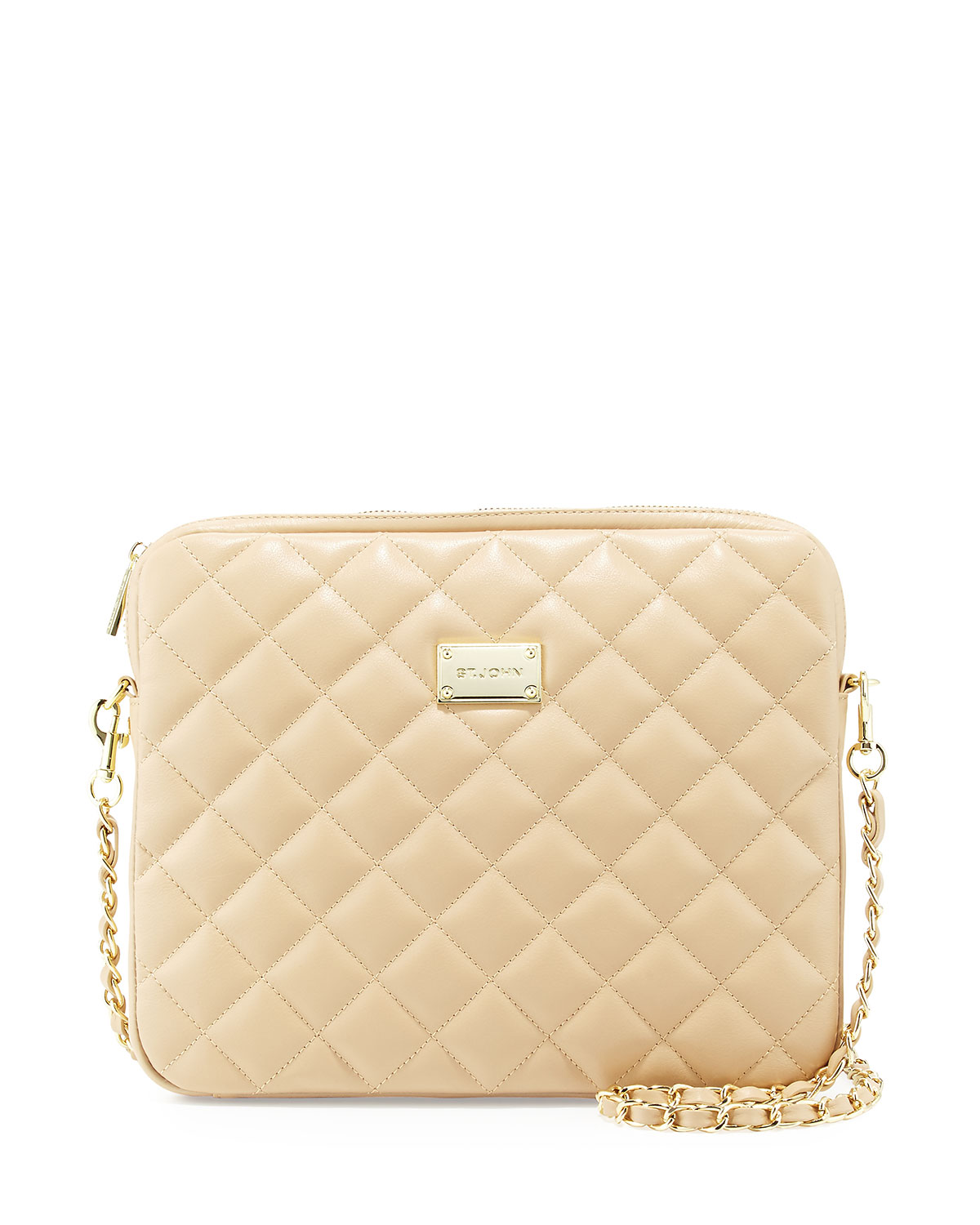 Quilted Leather Chain Shoulder Bag Classic Beige Gold
