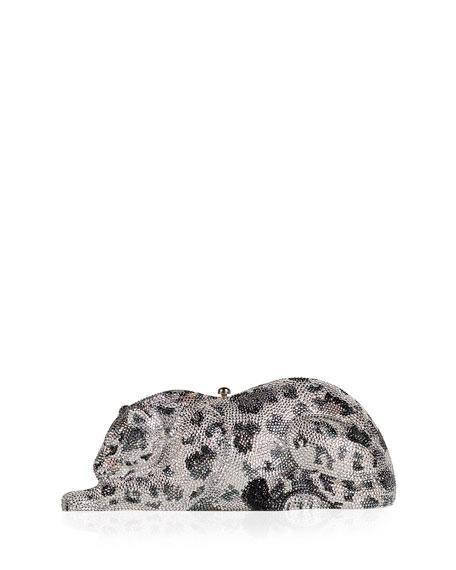 Wildcat Snow Leopard Crystal-Embellished Evening Clutch Bag, Silver
