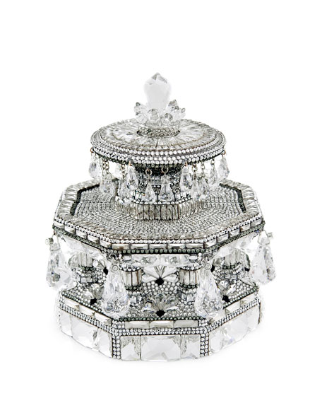 Fountain Grand Army Plaza Crystal Evening Clutch Bag, Silver