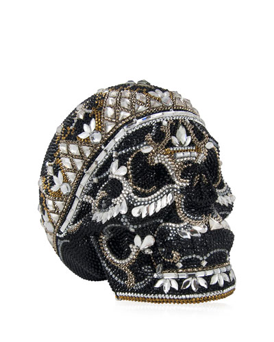 Skull Bela Lugosi Crystal Evening Clutch Bag, Silver Jet/Multi