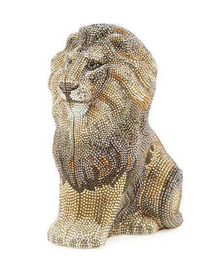 Lion Astor Crystal Evening Clutch Bag, Champagne Ceylon