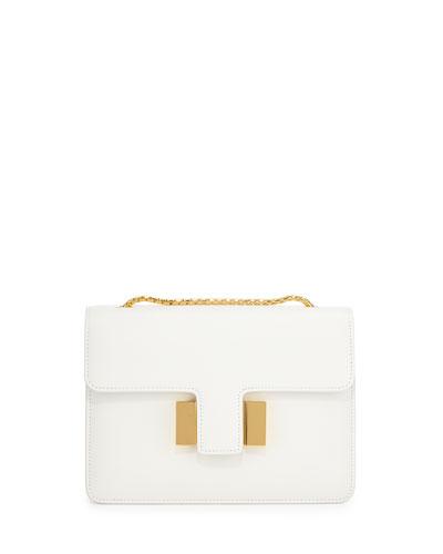 Sienna Medium T-Buckle Shoulder Bag, Chalk