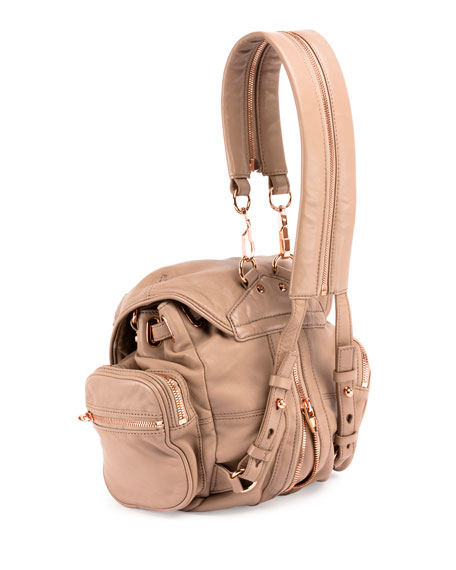 Mini Marti Leather Backpack, Latte/Rose Gold