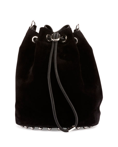 Alpha Suede Bucket Bag, Black