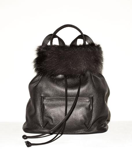 Langley Fur-Flap Leather Backpack, Black